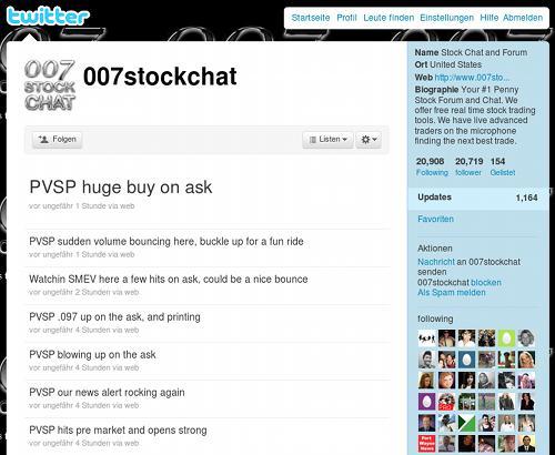 Timeline des Twitter-Spammers 007stockchat