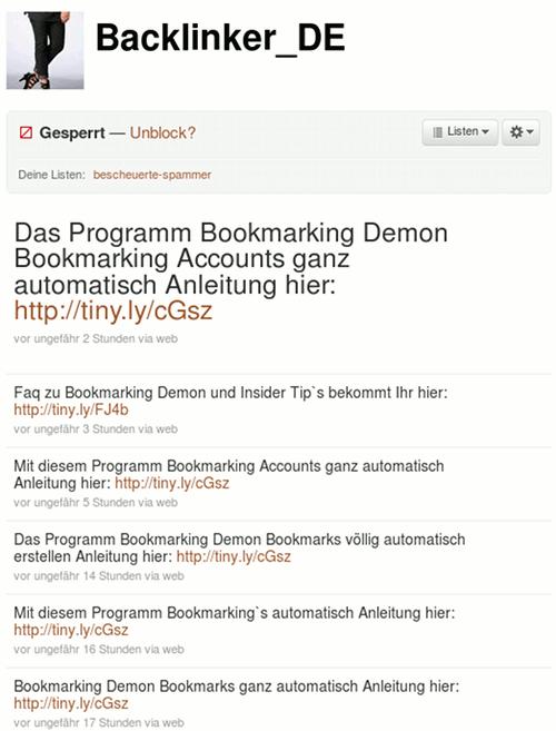 Screenshot der Spam-Timeline von Backlinker_DE auf Twitter