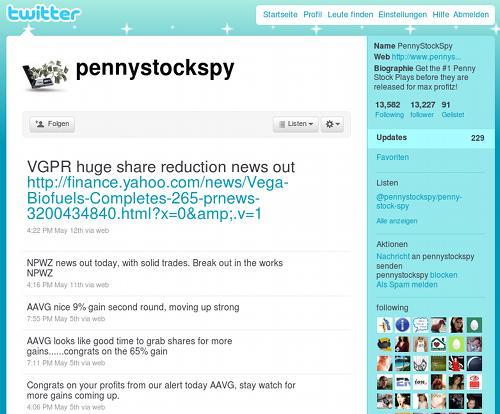Timeline des Twitter-Spammers pennystockspy