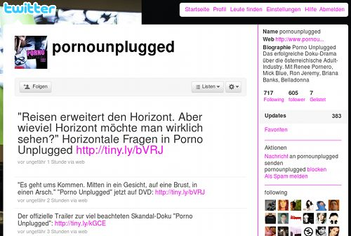 Screenshot des Twitter-Followspammers pornounplugged