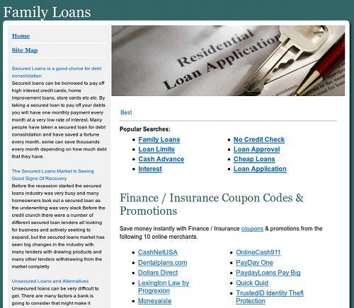 Screenshot der durch SEO-Spam in den Suchmaschinen nach oben gebrachten Website