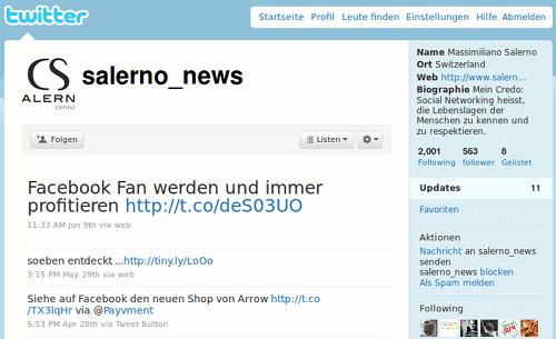 Screenshot des Twitter-Spamfollowers @salerno_news