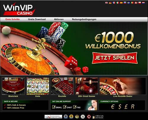 Screenshot der angeblichen Casino-Site 'WinVIP Casino' der Spammer und Betrüger