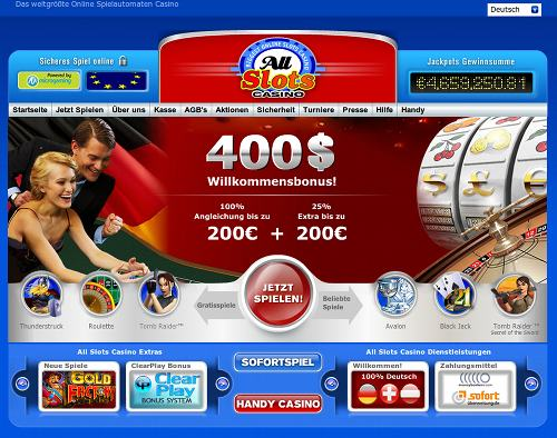 Screenshot der betrügerischen, durch Spam beworbenen Website All Slots Casino
