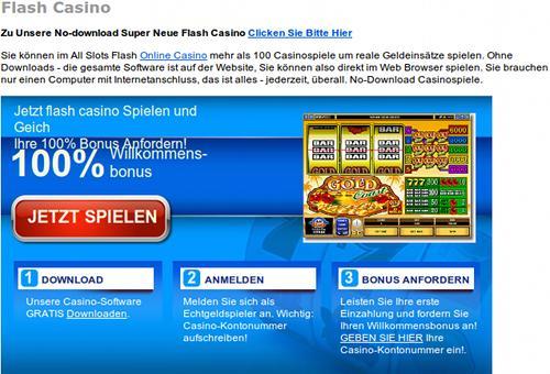 Detail der betrügerischen, durch Spam beworbenen Website: Flash Casino