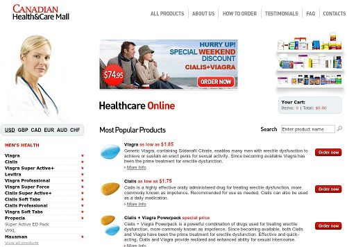 Screenshot der betrügerischen Website Canadian Health and Care Mall