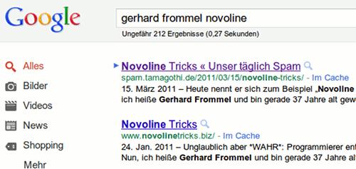 Google-Suche: 'gerhard frommel novoline' mit Unser täglich Spam und der Hall of Shame als ersten Treffer