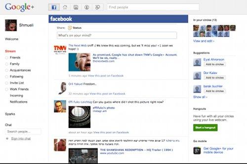 Screenshot eines angeblichen Google-Plus-Profiles mit eingebetteter Facebook-Timeline