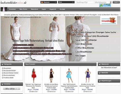 Screenshot der mit dummer SEO-Spam beworbenen Website hochzeitskleideronline (punkt) de