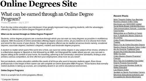 Screenshot der betrügerischen Website Online Degrees Site