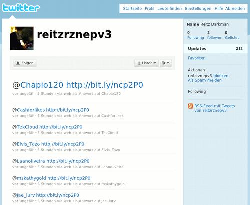 Screenshot der spammigen Timeline von reitzrznepv3