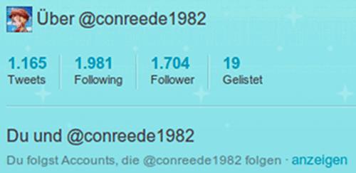 1704 Follower, darunter sogar einige Menschen, denen ich selbst folge