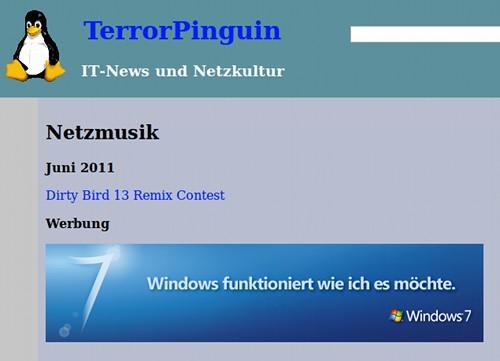 Terror-Pinguin mit Tux, darunter ein Werbebanner für Microsoft Windows 7