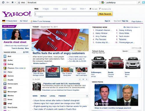 Screenshot der Website, die unter fxmail.net verfügbar ist -- eine perfekt nachgebaute Yahoo-Startseite