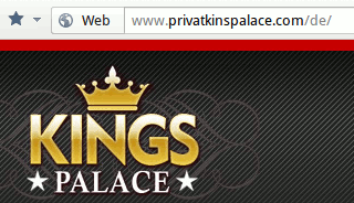 Screenshot mit URL www.privatkinspalace.com/de/
