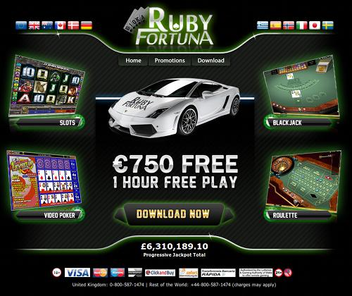 Screenshot der betrügerischen Casino-Website Ruby Fortuna