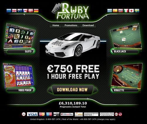 Screenshot der betrügerischen Casino-Website Ruby Fortuna