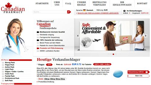 Screenshot der betrügerischen Website Canadian Pharmacy