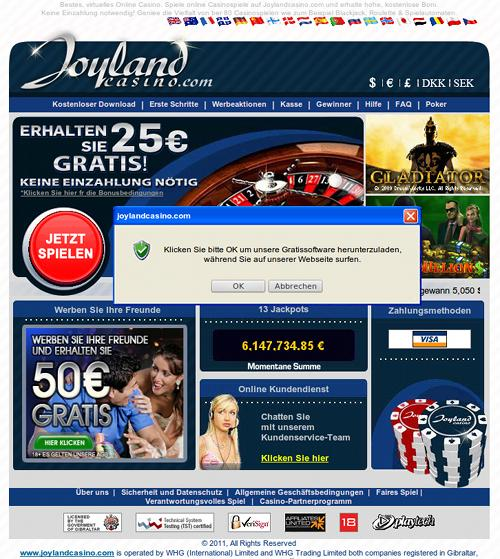 Screenshot der durch Spam beworbenen Website Joyland Casino