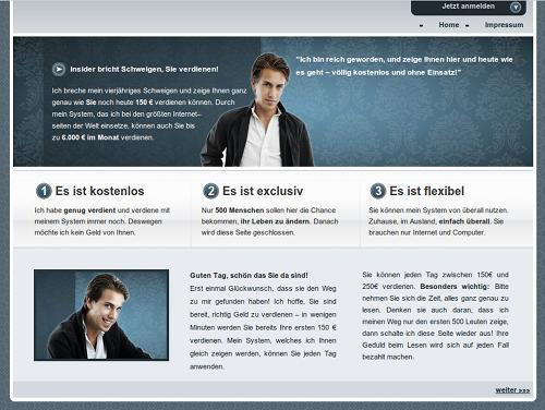 Screenshot der betrügerischen Website unter moritz-ahlborg.com