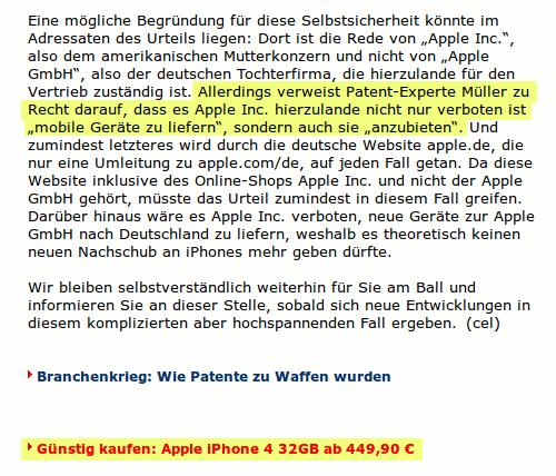 Artikel, der davon berichtet, dass Apple wegen eines Urteils des LG Mannheim zurzeit keine iPhones mehr verkaufen darf, darunter die Anzeige, dass man iPhones kaufen kann