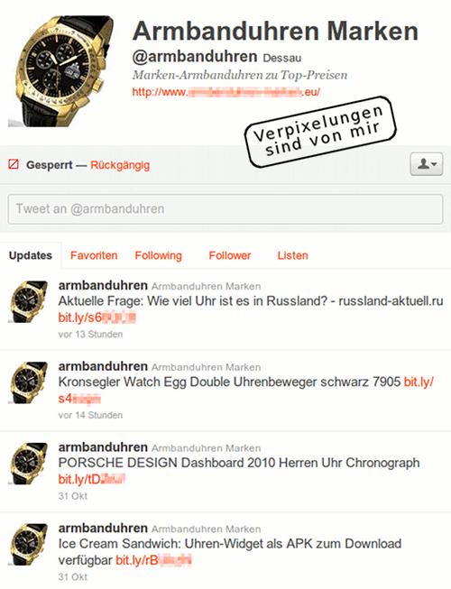 Screenshot des bescheuerten Twitterers @armbanduhren