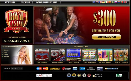 Screenshot der betrügerischen Website 'Royal Casino Club'
