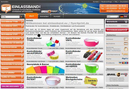 Screenshot der mit SEO-Spam beworbenen Website einlassband.eu