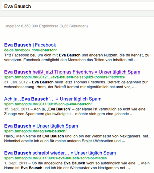 Google-Suchergebnis für Eva Bausch, mit vier Mal Unser täglich Spam unter den ersten fünf Treffern