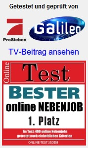 Detail aus dem Screenshot, Getestet und geprüft von Pro Sieben Galileo, Online-Test Bester online Nebenjob 1. Platz