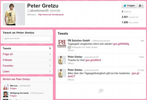 Screenshot des Profils des Twitterspammers @abnehmen45