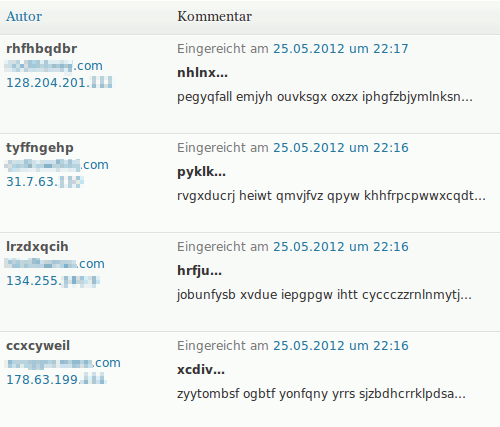 Screenshot der Kommentarmoderation im WordPress-Backend