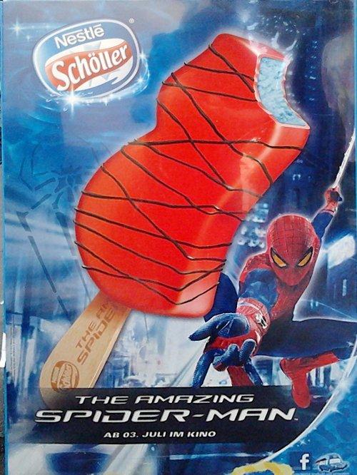 Werbung für das Schöller-Eis 'Spider-Man'