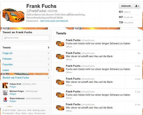 Screenshot der Timeline des Followspammers @FrankFuchsi auf Twitter
