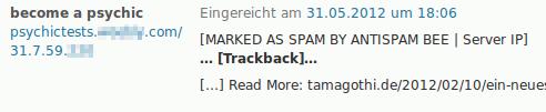 become a psychic -- Screenshot eines Trackbacks