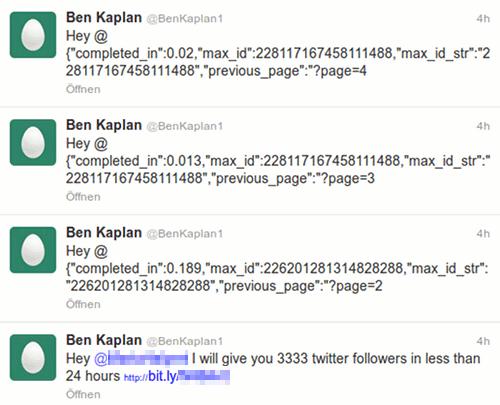 Ausschnitt aus der Timeline des Twitter-Spammers @BenKaplan1