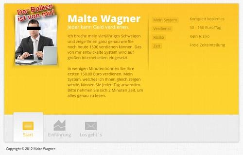 Screenshot der betrügerischen Website des angeblichen Malte Wagner