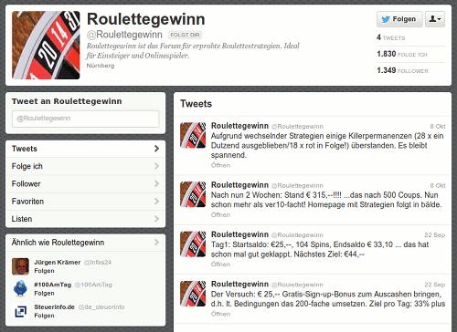 Screenshot des Twitter-Spammers @Roulettegewinn