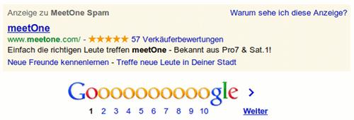 Fail: Google-Ad zum Suchbegriff MeetOne Spam
