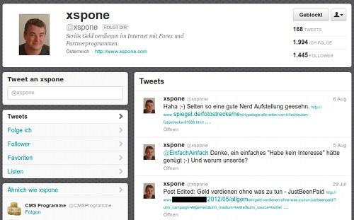 Screenshot des Twitterspammers