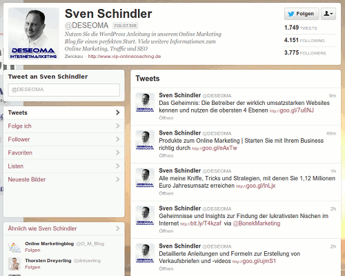 Screenshot der Twitter-Timeline des Followspammers