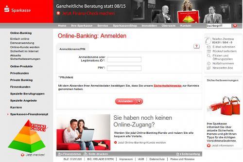 Screenshot der Phishing-Site: Anmeldung