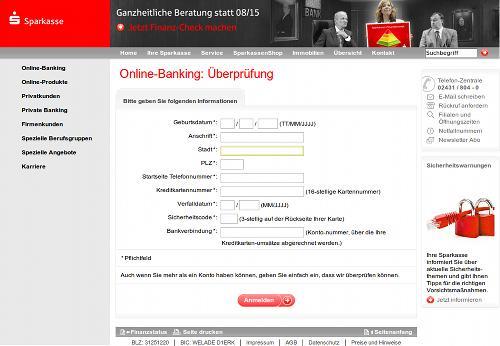 Screenshot der Phishing-Site: Dateneingabe zur angeblichen Online-Überprüfung des Kontos