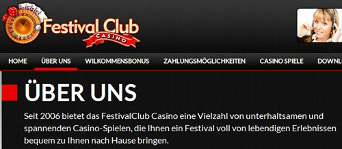 ÜBER UNS Seit 2006 bietet das FestivalClub Casino eine Vielzahl von unterhaltsamen und spannenden Casino-Spielen, die Ihnen ein Festival voll von lebendigen Erlebnissen bequem zu Ihnen nach Hause tragen