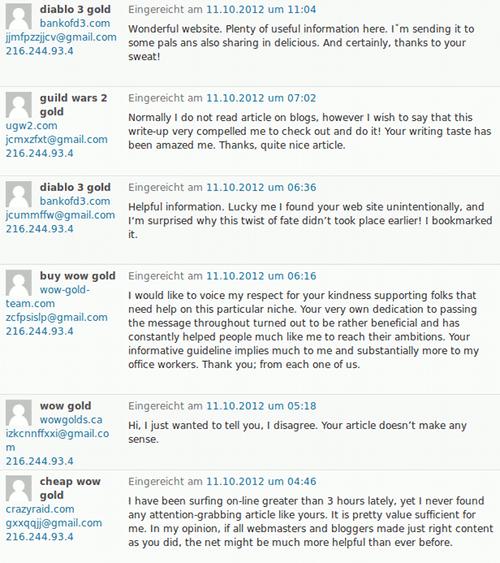 Ausschnitt der Kommentarspam von heute