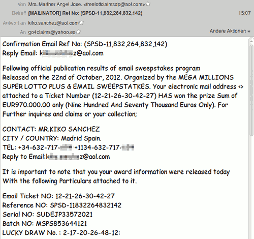 Screenshot der betrügerischen Mail