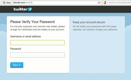 Screenshot der Twitter-Phishing-Seite