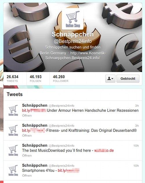 Timeline des Twitter-Follow-Spammers @Bestpreis24info