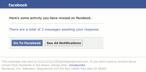 Here's some activity you have missed on facebook. There are a total of 2 messages awaiting your response