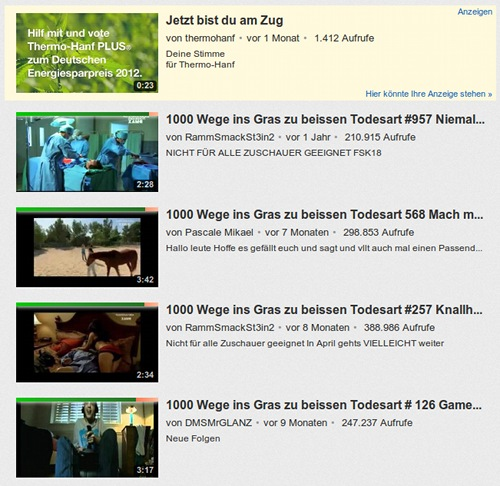 Ad :Jetzt bist du am Zug von Thermohanf, gefolgt von einer Liste von Kürzstfilmen mit dem Titel 1000 Wege ins Gras zu beißen